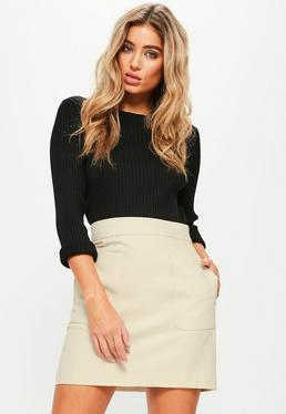Nude Textured Cotton A Line Skirt