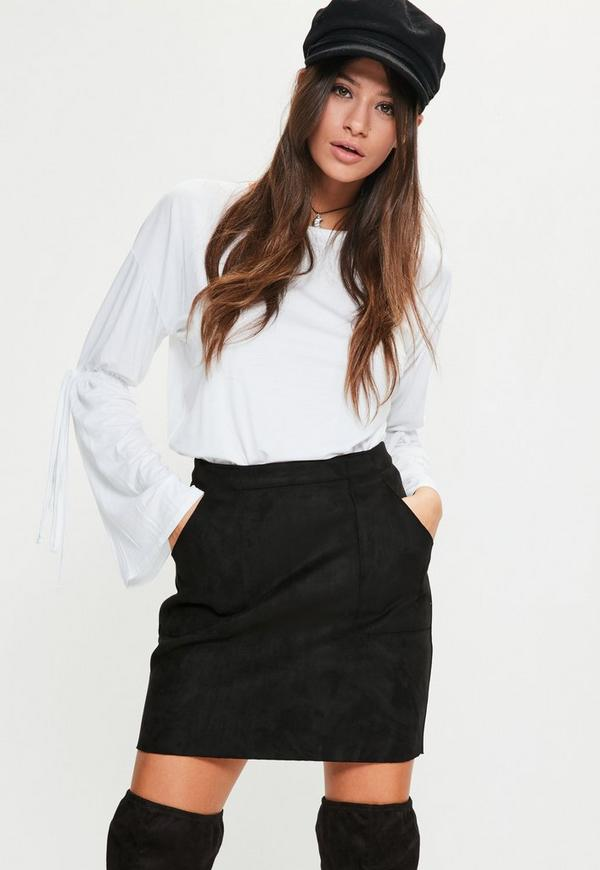Black Bonded Faux Suede Patch Pocket Mini Skirt