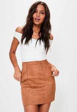 Tan Bonded Faux Suede Patch Pocket Mini Skirt