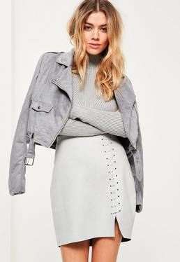 Grey Faux Suede Stitch Detail Split Mini Skirt