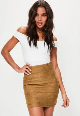 Tan Embroidered Detail Faux Suede Mini Skirt