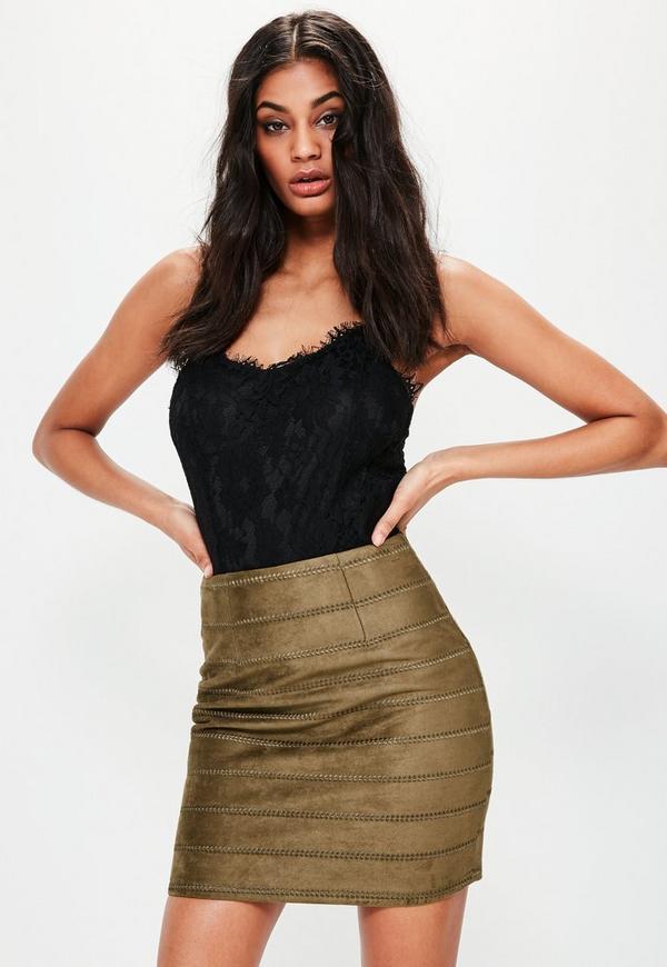 Khaki Embroidered Detail Faux Suede Mini Skirt