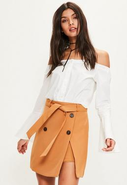 Tan Trench Belt Mini Skirt