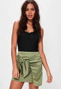 Green Knot Front Satin Mini Skirt