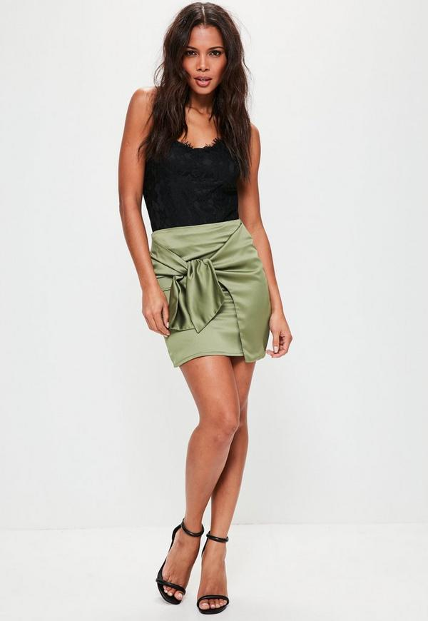 Green Knot Front Satin Mini Skirt | Missguided