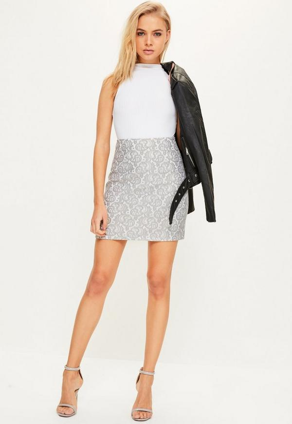 Grey Bonded Lace Zip Back A Line Mini Skirt