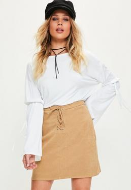 Tan Eyelet Lace Front A Line Mini Skirt