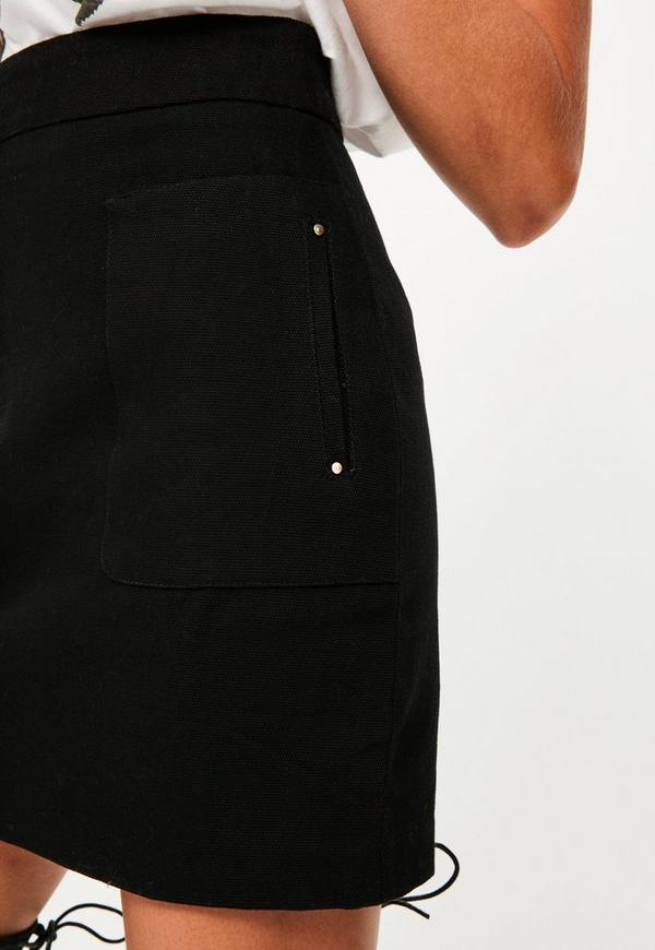 Black Textured Cotton A Line Mini Skirt | Missguided