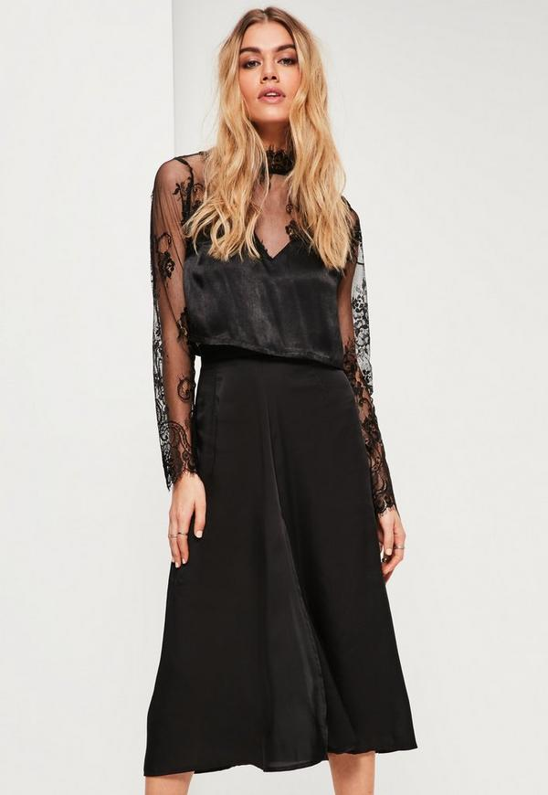 Black Satin Full Midi Skirt