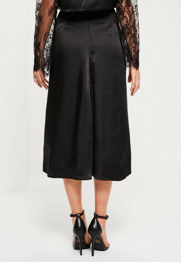 black satin midi skirt missguided