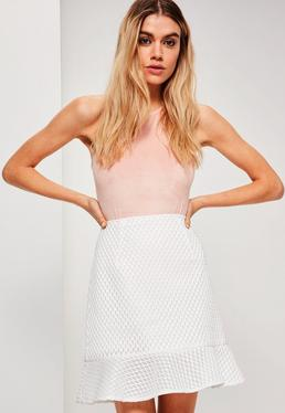 White Frill Hem Airtex Mesh Mini Skirt