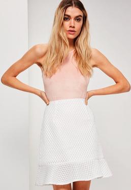 White Frill Hem Airtex Mesh Mini Skirt