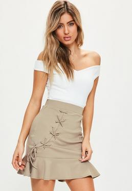 Nude Ponte Frill Hem Eyelet Detail Mini Skirt