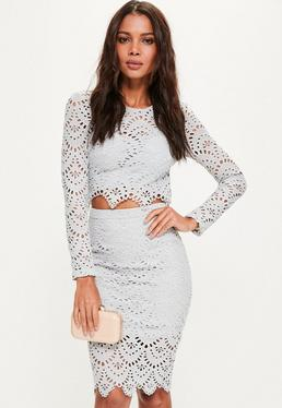 Grey Crochet Lace Midi Skirt