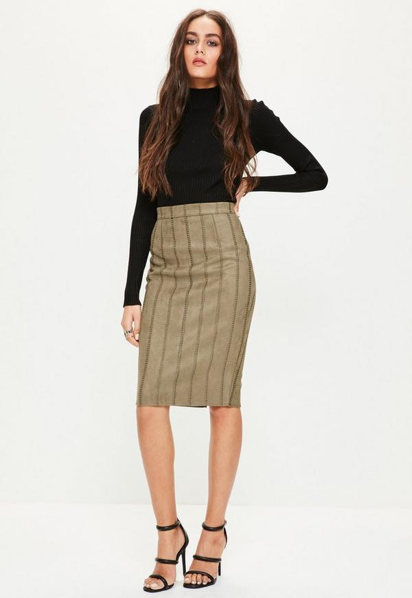 khaki faux suede stitch detail midi skirt missguided