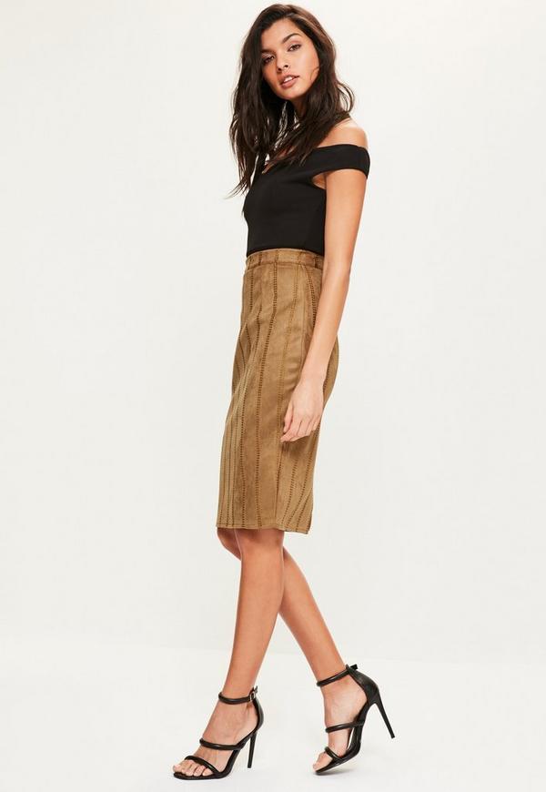Tan Faux Suede Stitch Detail Midi Skirt