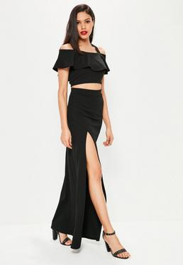 Black Stretch Crepe Split Side Maxi Skirt