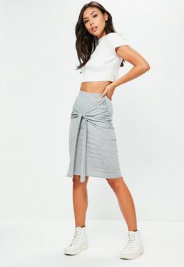 grey marl tie front midi skirt