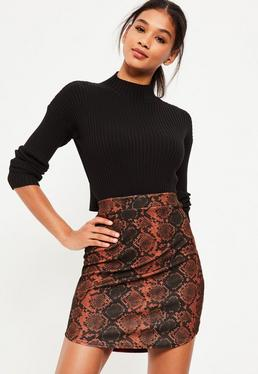 Brown Snake Print Curve Hem Crepe Mini Skirt