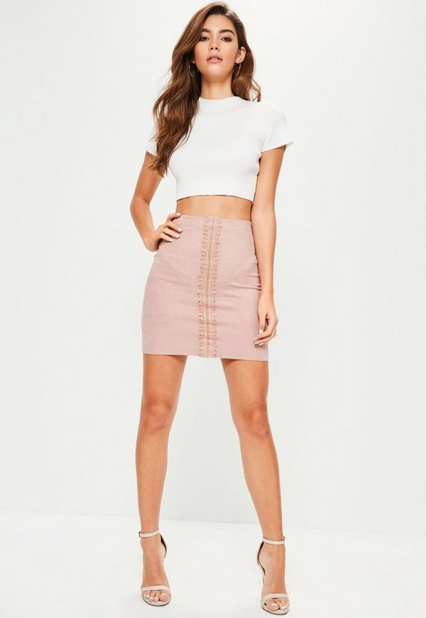 Pink Faux Suede Lace Detail Mini Skirt | Missguided