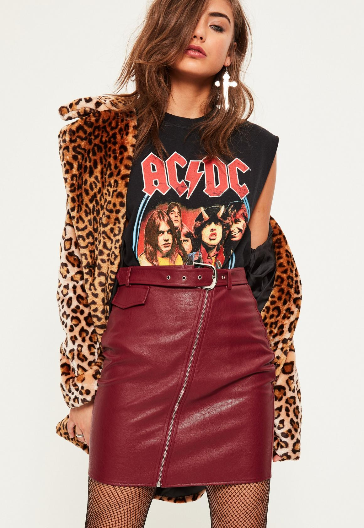 Red Faux Leather Biker Detail Mini Skirt - Missguided