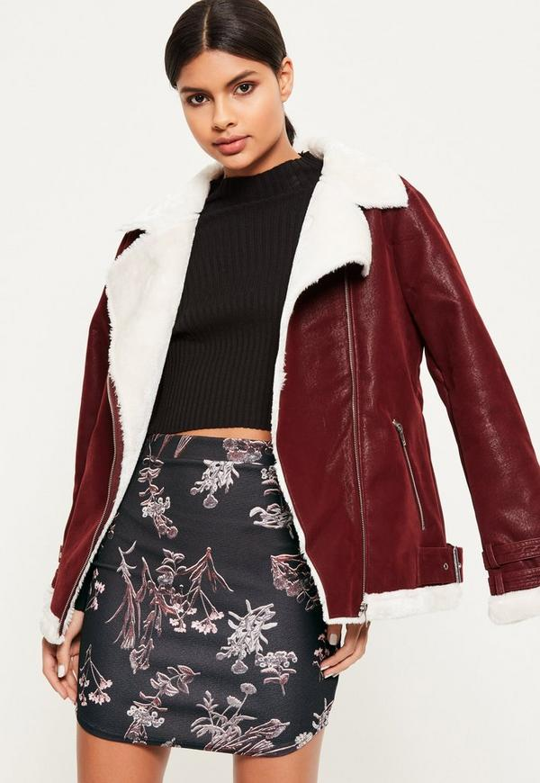 Black Floral Stretch Crepe Curve Hem Mini Skirt