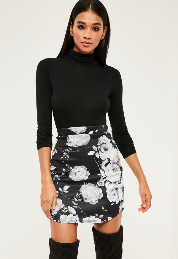 Black Scuba Floral Print Mini Skirt