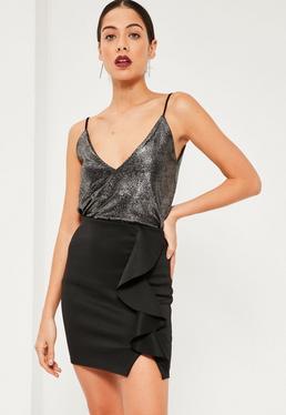 Black Scuba Frill Front Mini Skirt