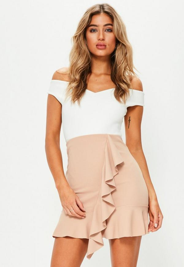 Nude Stretch Crepe Frill Front Mini Skirt