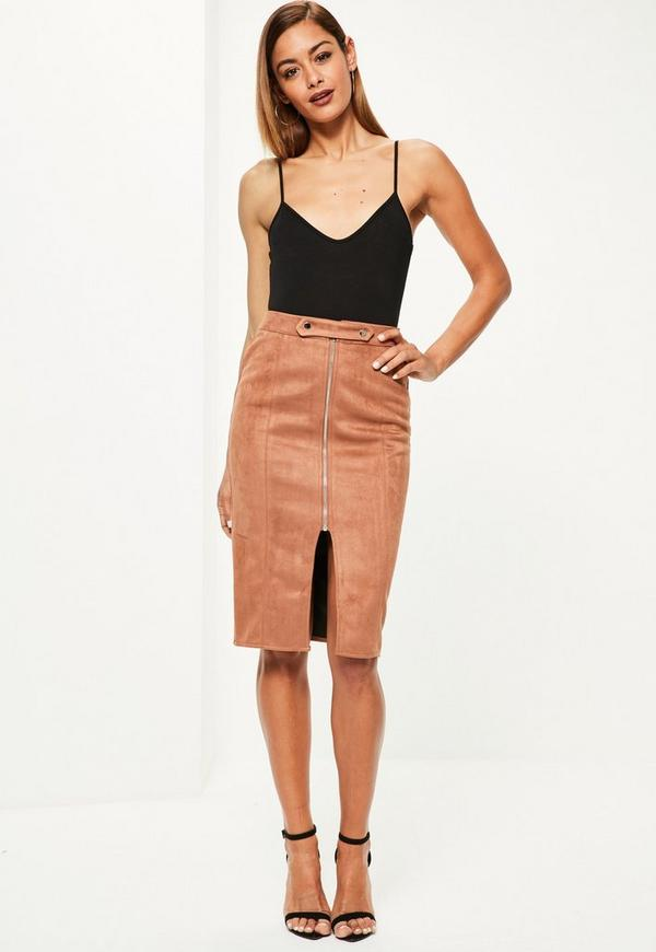 Brown faux suede tab detail zip front midi skirt