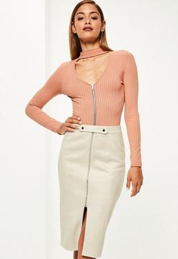 Cream Faux Suede Tab Detail Front Midi Skirt Cream