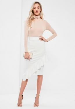 White Jersey Crepe Frill Front Midi Skirt