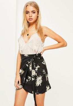 Floral Printed Crepe Tie Waist Mini Skirt