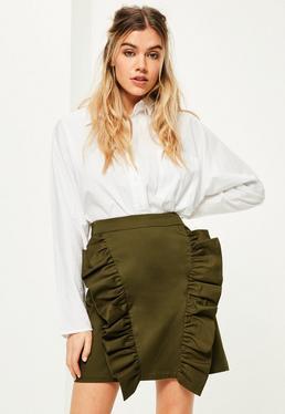 Khaki Frill Front Mini Skirt