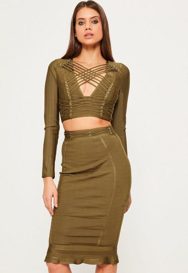 Green Premium Bandage Eyelet Criss Cross Waist Peplum Midi Skirt