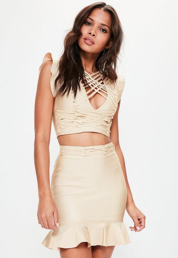 Premium Nude Frill Hem Eyelet Waist Mini Skirt