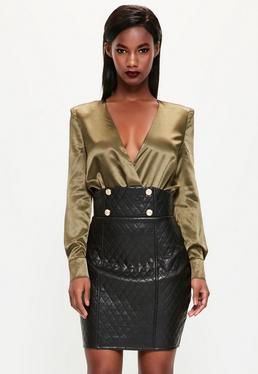 Mini-jupe noire matelassée en simili cuir Peace + Love