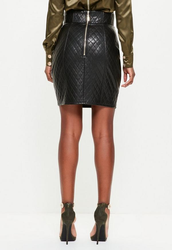 Peace   Love Black Quilted Faux Leather Mini Skirt - Missguided