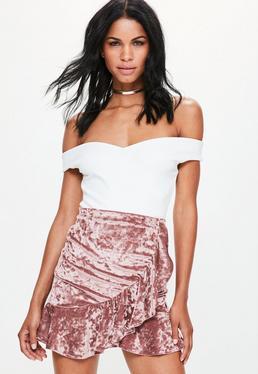 Pink Crushed Velvet Frill Hem Skirt