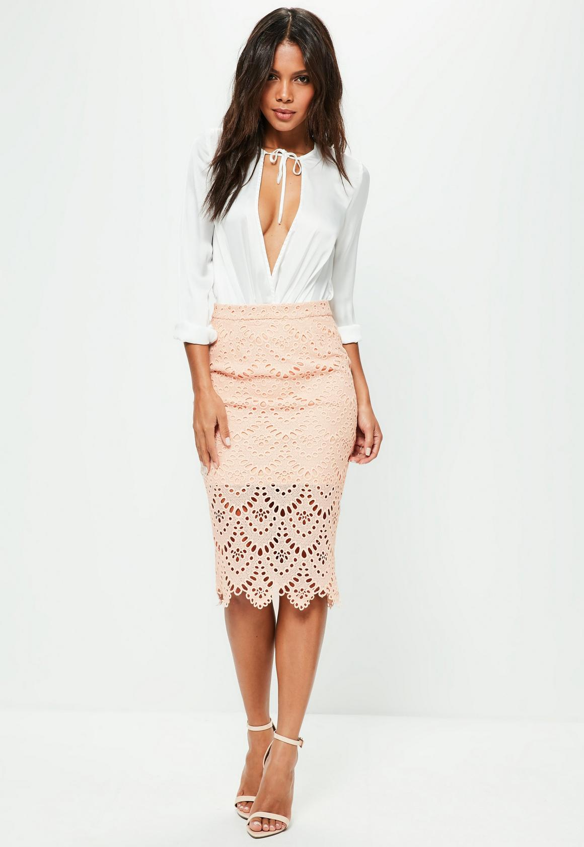 Pink Floral Lace Midi Skirt | Missguided