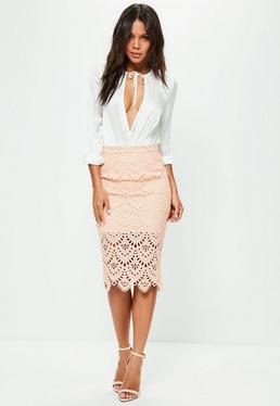 Pink Floral Lace Midi Skirt