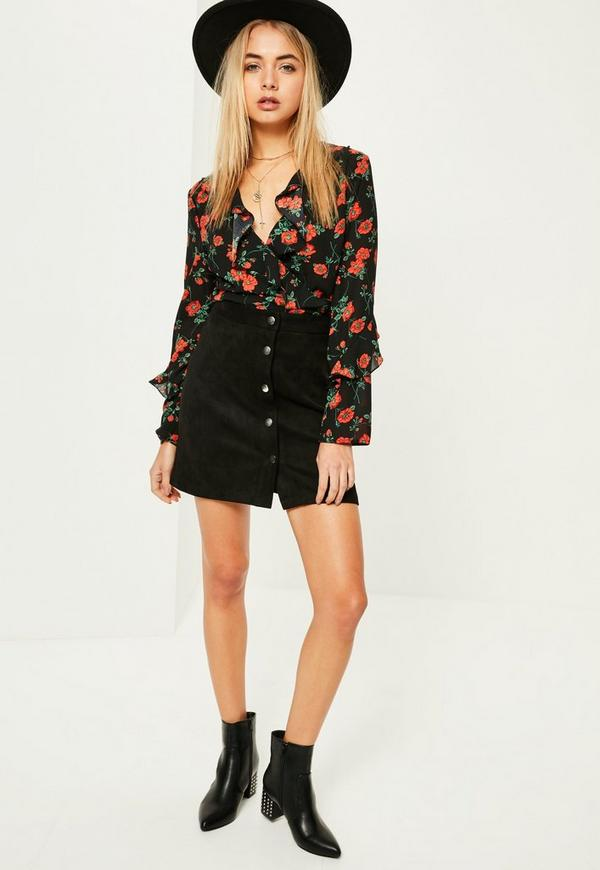 Black Faux Suede A Line Mini Skirt - Missguided