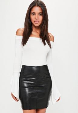 Black Faux Leather Textured Mini Skirt