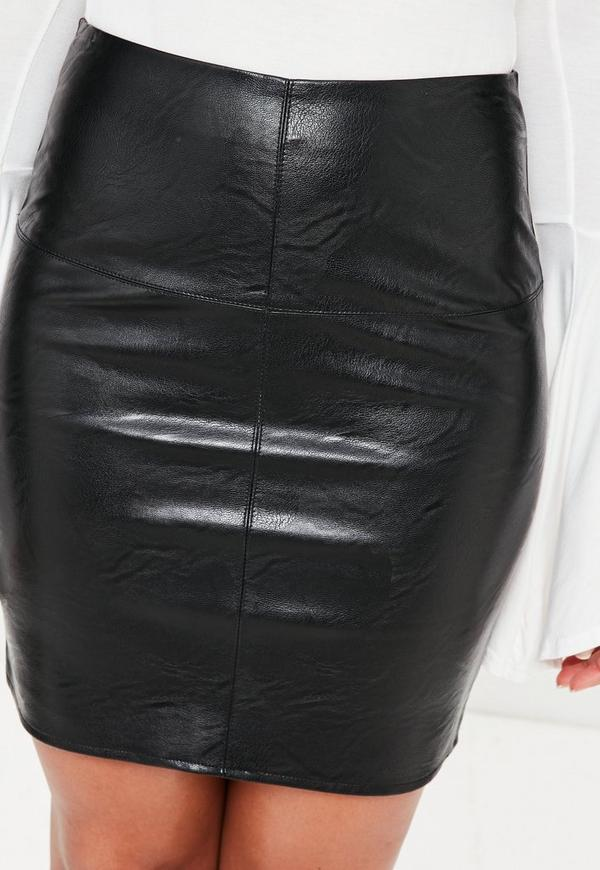 Leather Skirts Our varied range of shapes of leather skirts means that you will be able to find your perfect timeless piece here at boohoo. We've got sultry pencil skirts, cheeky minis, dainty embroidery, lace-up, studded and classic pleats in matte blacks, wet look reds and cool metallics.