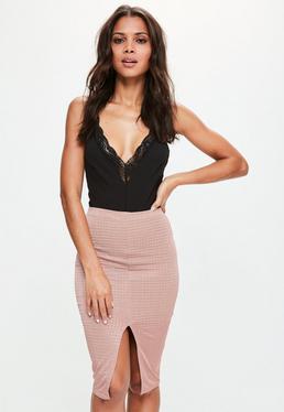 Pink Metallic Split Front Textured Midi Skirt