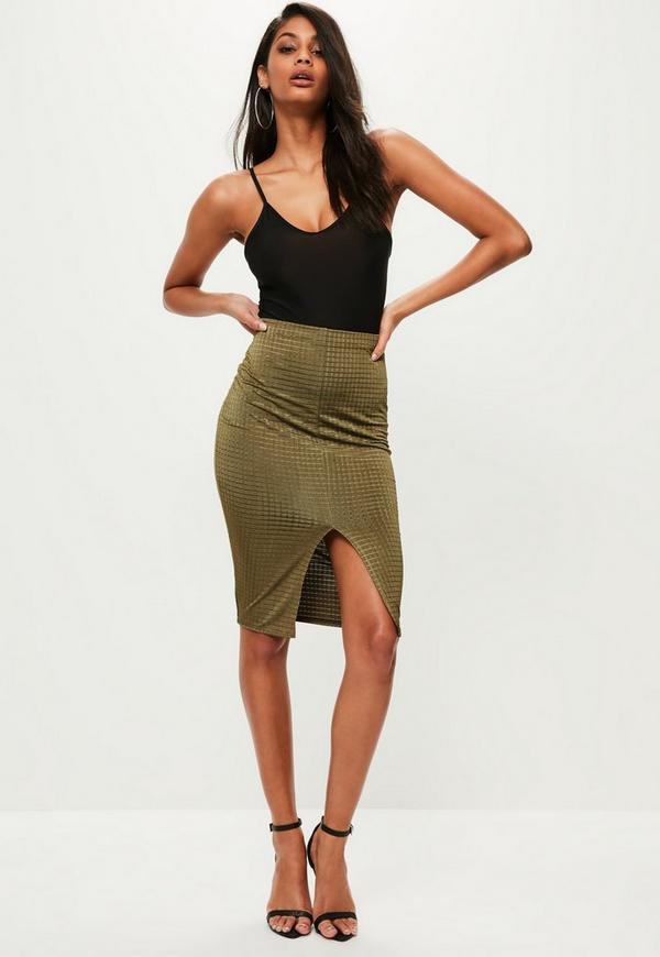 Khaki Metallic Split Front Textured Midi Skirt