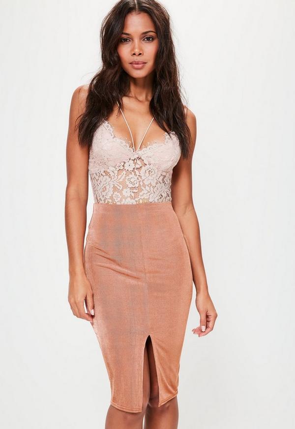 Pink Slinky Split Front Midi Skirt