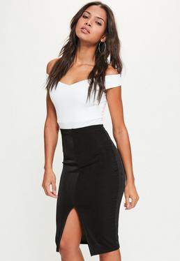 Black Split Front Slinky Midi Skirt