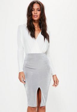 Grey Slinky Split Front Midi Skirt