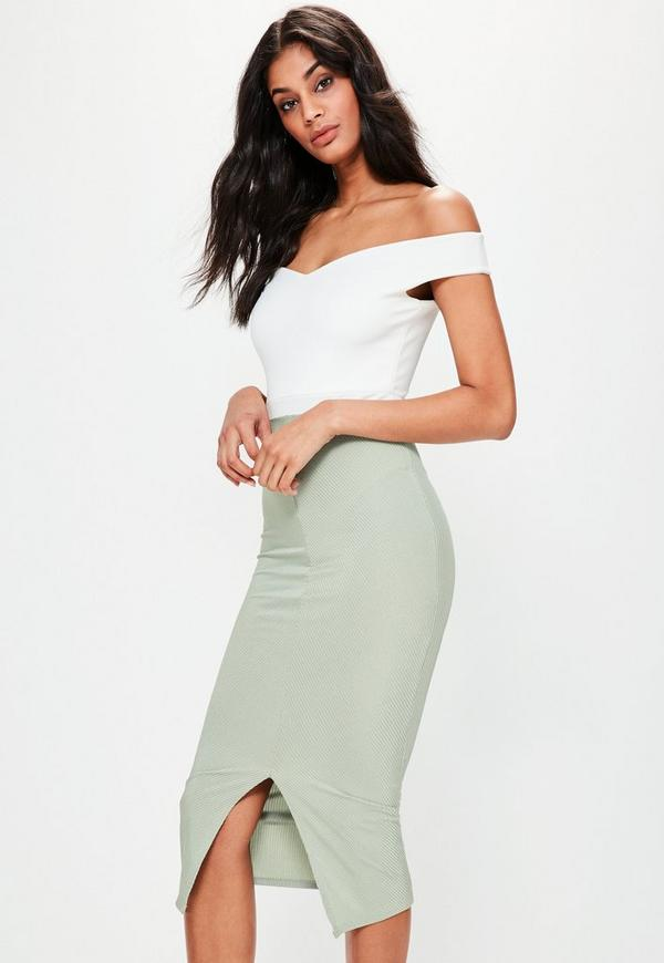 Green Longline Ribbed Midi Skirt